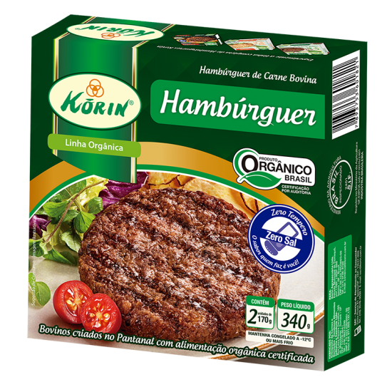 Hambúrguer Bovino Orgânico Congelado 340g - Korin