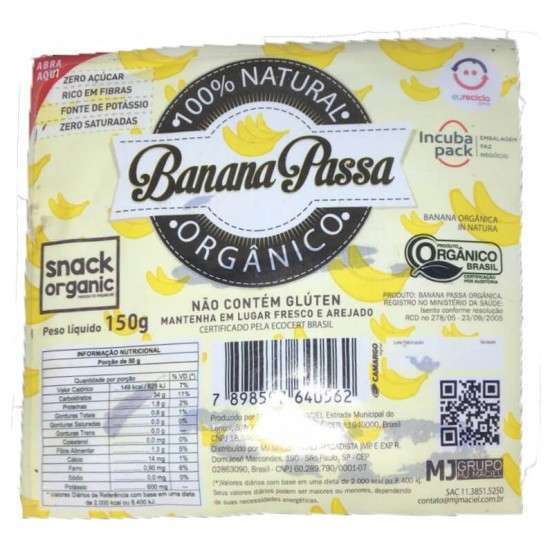 Banana Passa Orgânica 150g - MJ Maciel