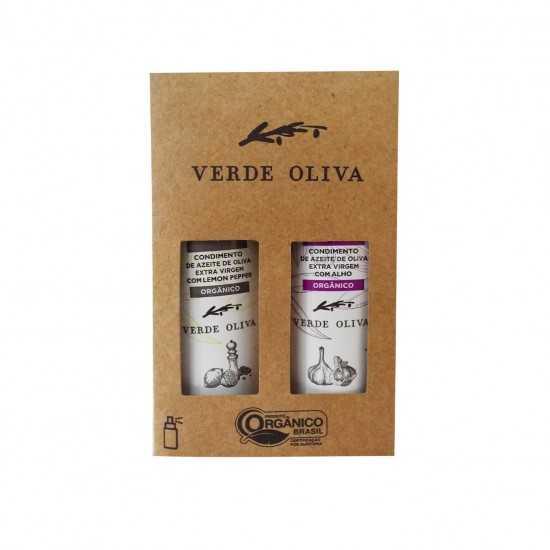 Kit de Condimentos Orgânicos a base de Azeite Extra Virgem Lemon Pepper e Alho - Verde Oliva