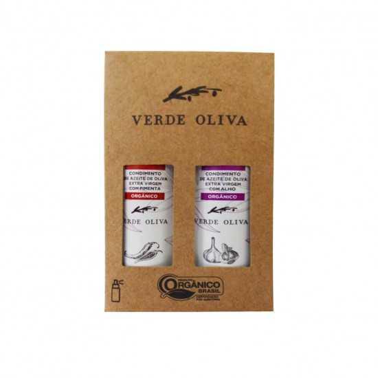 Kit de Condimentos Orgânicos a base de Azeite Extra Virgem Pimenta e Alho - Verde Oliva