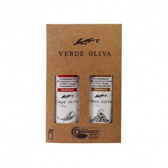 Kit de Condimentos Orgânicos a base de Azeite Extra Virgem Defumado e Pimenta - Verde Oliva