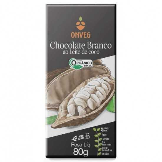 Chocolate Branco Ao Leite de Coco Orgânico 80g - Onveg