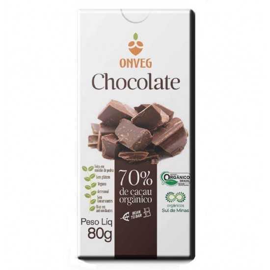 Chocolate 70% de Cacau Orgânico 80g - Onveg