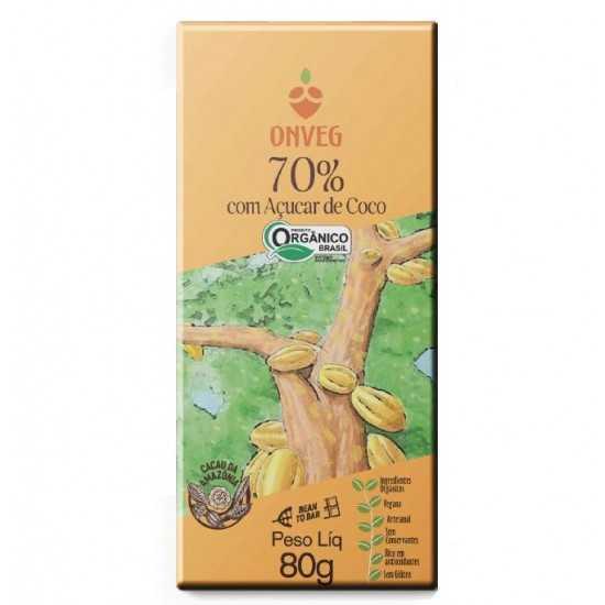 Chocolate 70% com Açúcar de Coco Orgânico 80g - Onveg
