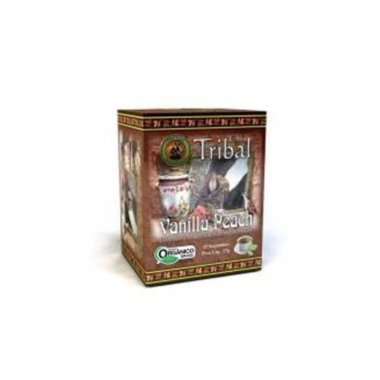 Chá de Erva Mate Vanilla Peach Orgânico 15 Sachês - Tribal Brasil