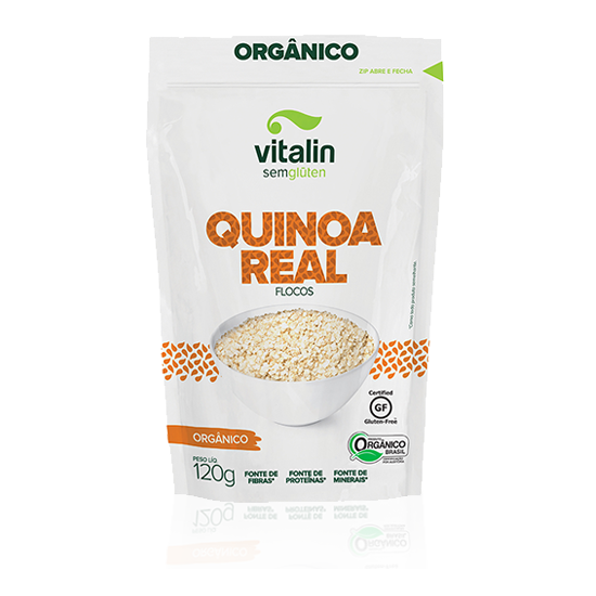 Quinoa Real em Flocos Sem Glúten Orgânica 120g - Vitalin