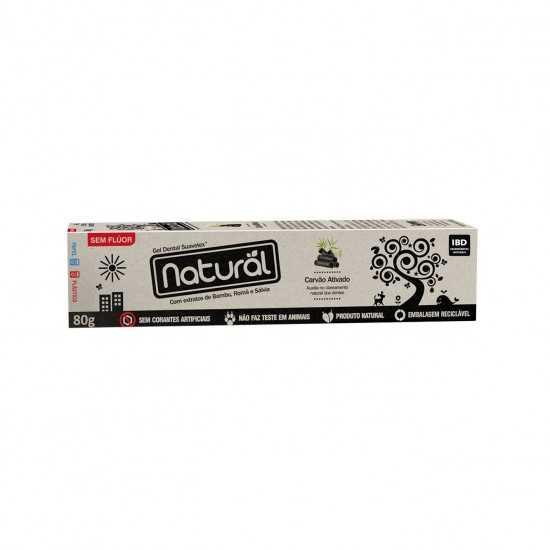 Creme Dental Carvão Ativado, Extratos de Bambu, Romã e Sálvia Suavetex 80g - Orgânico Natural