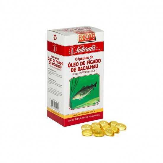 Óleo de Fígado de Bacalhau 100 cápsulas de 250mg - Naturalis