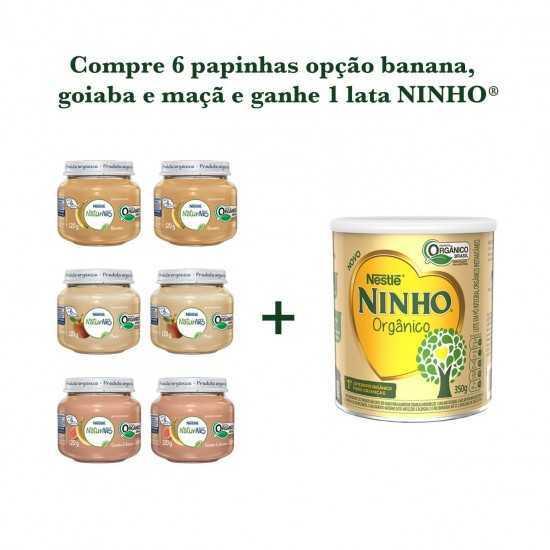Compre 6 Papinhas Opção Banana, Goiaba, Maçã e Ganhe 1 Lata Ninho - Nestle Orgânicos