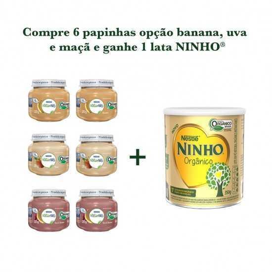 Compre 6 Papinhas Opção Banana, Uva, Maçã e Ganhe 1 Lata Ninho - Nestle Orgânicos