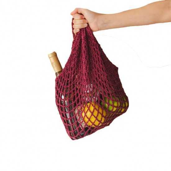 Ecobag Rede de Algodão 100% Reciclado Vermelha Pequena Un - E.Cocriar