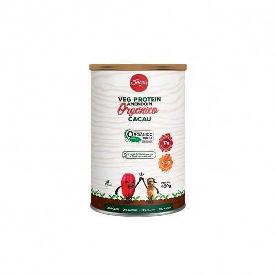 Veg Protein Amendoim Orgânico Cacau 450g - Organ Alimentos